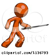 Orange Design Mascot Man Stabbing With Ninja Sword Katana