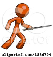 Orange Design Mascot Woman Stabbing With Ninja Sword Katana