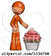 Orange Design Mascot Woman With Giant Cupcake Dessert