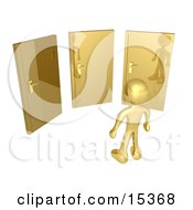 Gold Figure Standing In Front Of Three Different Golden Doors Symbolizing Someone With Only Amazing Opprotunities Ahead