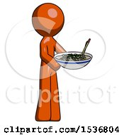 Orange Design Mascot Man Holding Noodles Offering To Viewer