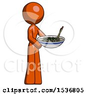Orange Design Mascot Woman Holding Noodles Offering To Viewer