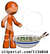 Orange Design Mascot Man And Noodle Bowl Giant Soup Restaraunt Concept