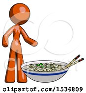 Orange Design Mascot Woman And Noodle Bowl Giant Soup Restaraunt Concept