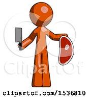 Orange Design Mascot Man Holding Large Steak With Butcher Knife