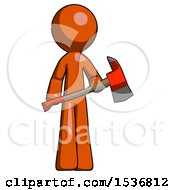 Orange Design Mascot Man Holding Red Fire Fighters Ax