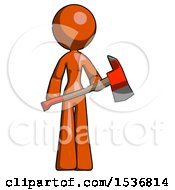 Orange Design Mascot Woman Holding Red Fire Fighters Ax