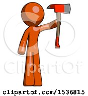 Orange Design Mascot Man Holding Up Red Firefighters Ax
