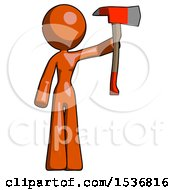 Orange Design Mascot Woman Holding Up Red Firefighters Ax