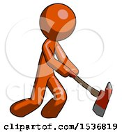 Orange Design Mascot Man Striking With A Red Firefighters Ax