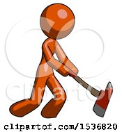 Orange Design Mascot Woman Striking With A Red Firefighters Ax
