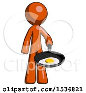 Orange Design Mascot Man Frying Egg In Pan Or Wok