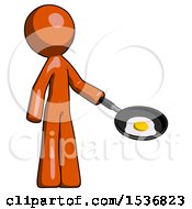 Orange Design Mascot Man Frying Egg In Pan Or Wok Facing Right