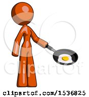 Orange Design Mascot Woman Frying Egg In Pan Or Wok Facing Right