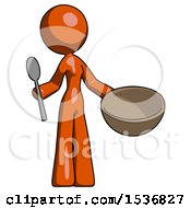 Orange Design Mascot Woman With Empty Bowl And Spoon Ready To Make Something