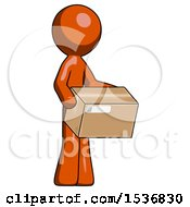 Orange Design Mascot Man Holding Package To Send Or Recieve In Mail