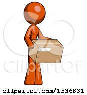 Orange Design Mascot Woman Holding Package To Send Or Recieve In Mail