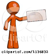 Orange Design Mascot Man Holding Large Envelope