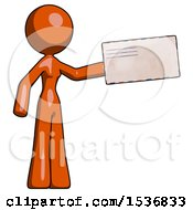 Orange Design Mascot Woman Holding Large Envelope