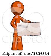 Orange Design Mascot Man Presenting Large Envelope