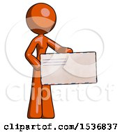 Orange Design Mascot Woman Presenting Large Envelope