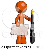Orange Design Mascot Man Holding Large Envelope And Calligraphy Pen