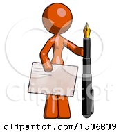 Orange Design Mascot Woman Holding Large Envelope And Calligraphy Pen