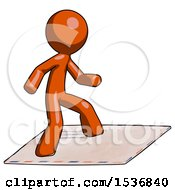Orange Design Mascot Man On Postage Envelope Surfing