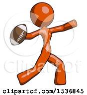 Orange Design Mascot Woman Throwing Football