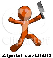 Orange Design Mascot Man Psycho Running With Meat Cleaver