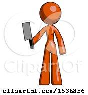 Orange Design Mascot Woman Holding Meat Cleaver