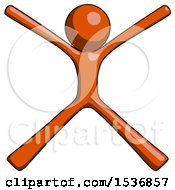 Orange Design Mascot Man With Arms And Legs Stretched Out