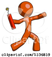 Orange Design Mascot Man Throwing Dynamite