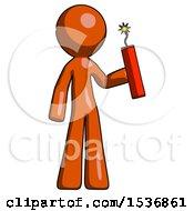Orange Design Mascot Man Holding Dynamite With Fuse Lit