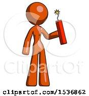 Orange Design Mascot Woman Holding Dynamite With Fuse Lit
