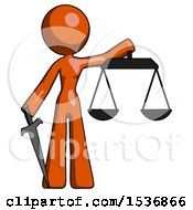 Orange Design Mascot Woman Justice Concept With Scales And Sword Justicia Derived