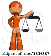 Orange Design Mascot Man Holding Scales Of Justice