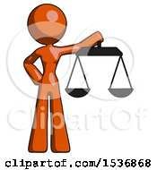 Orange Design Mascot Woman Holding Scales Of Justice