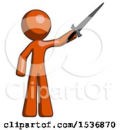 Orange Design Mascot Man Holding Sword In The Air Victoriously
