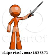 Orange Design Mascot Woman Holding Sword In The Air Victoriously