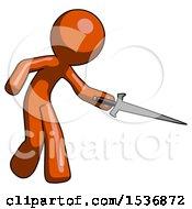Orange Design Mascot Man Sword Pose Stabbing Or Jabbing