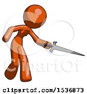 Orange Design Mascot Woman Sword Pose Stabbing Or Jabbing