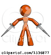 Orange Design Mascot Woman Two Sword Defense Pose
