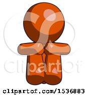 Orange Design Mascot Man Sitting With Head Down Facing Forward