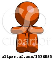 Orange Design Mascot Woman Sitting With Head Down Facing Forward