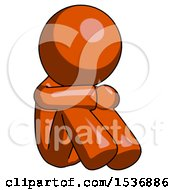 Orange Design Mascot Man Sitting With Head Down Facing Angle Right