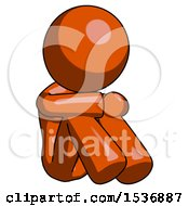 Orange Design Mascot Woman Sitting With Head Down Facing Angle Right