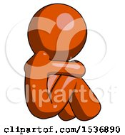 Orange Design Mascot Man Sitting With Head Down Back View Facing Right
