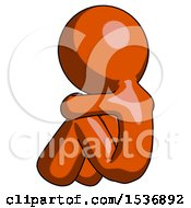 Orange Design Mascot Man Sitting With Head Down Back View Facing Left