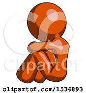 Orange Design Mascot Woman Sitting With Head Down Back View Facing Left